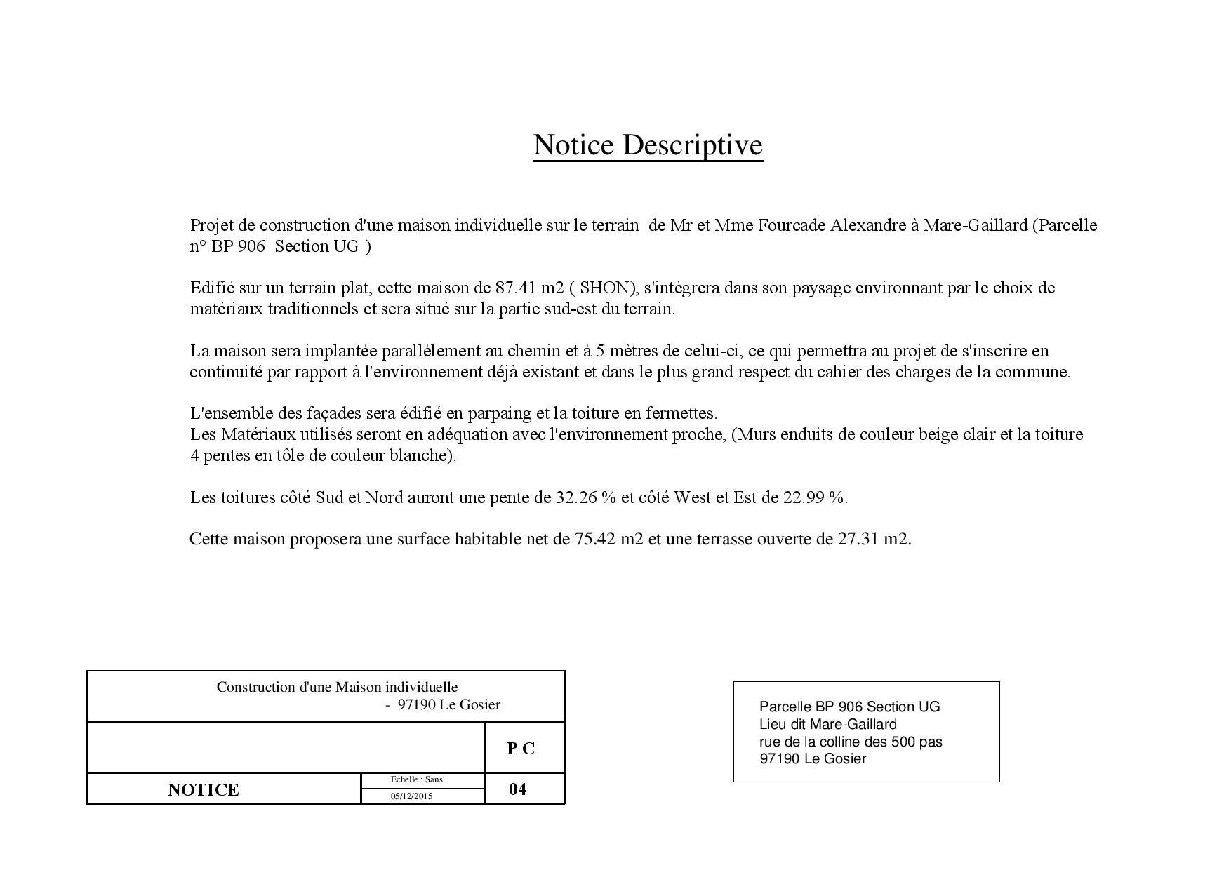 Dessinateur plans de maison batiment guadeloupe 971 permis for Permis de construire notice